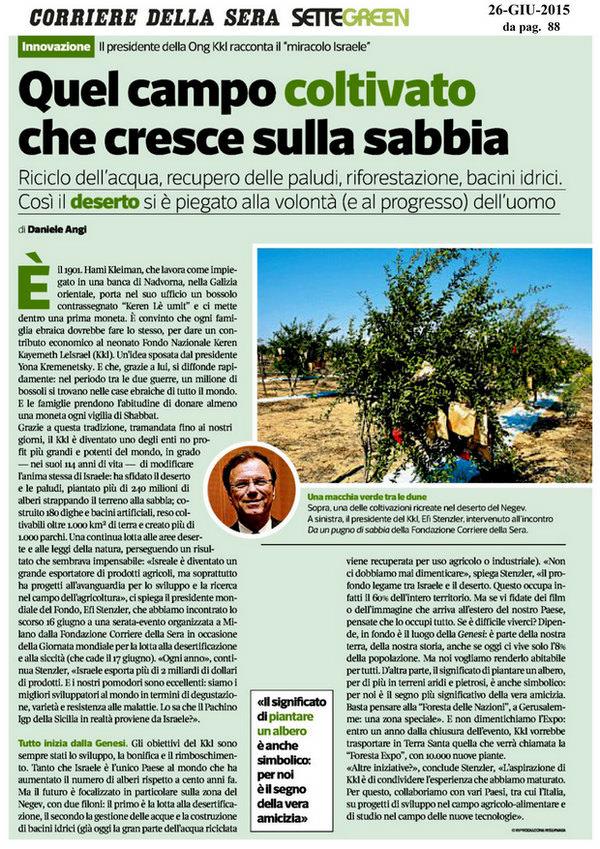 Settegreen - Corriere della Sera 26 Giugno